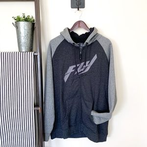 Fly Racing   Men's Hoodie Jacket Grey Size Large